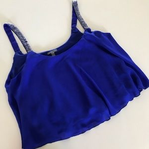 Charlotte Russe blue sparkly strap crop top Small